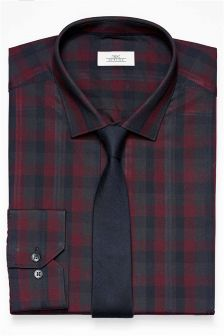 Slim Fit Check Shirt And Tie Set