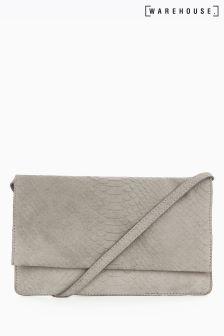 Warehouse Grey Suede Embossed Croc Cross Body Bag
