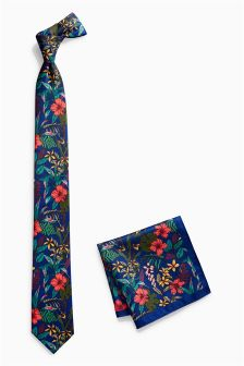 Floral Print Tie And Pocket Square Set