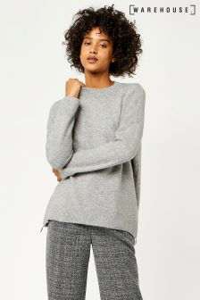 Warehouse Grey Marl Zip Side Mohair Jumper