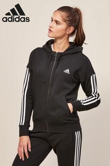 adidas Essential 3 Stripe Full Zip Hoody