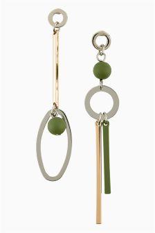 Loopy Khaki Bead Mismatch Earrings