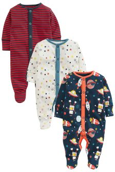Retro Style Space Sleepsuits 3 Pack (0mths-2yrs)