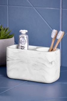 marble effect toothbrush tidy - White Bathroom Accessories Uk