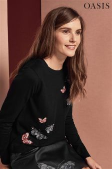 Oasis Black Embroidered Butterfly Knit