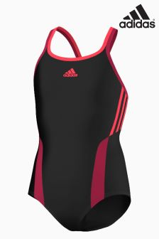 adidas 3 Stripe Black Swimsuit
