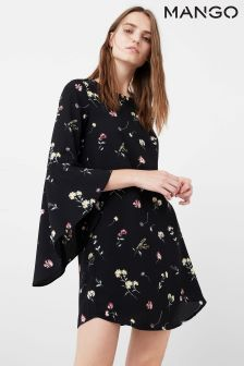 Mango Black Floral Print Dress