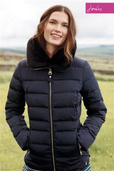 Joules Oakwell Marine Navy Padded Jacket With Faux Fur Collar
