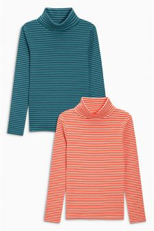 Stripe Rib Long Sleeve Roll Neck Two Pack (3-16yrs)