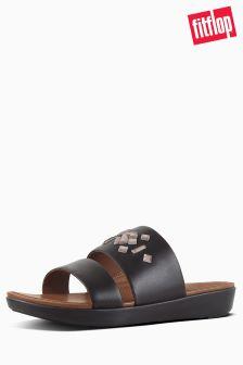 FitFlop™ Black Delta Leather Slide Sandal