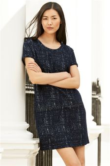 Jacquard Short Sleeve Zip Dress