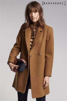 Warehouse Brown Clean Double Breasted Coat