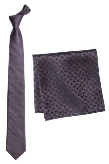 Textured Silk Tie And Pocket Square