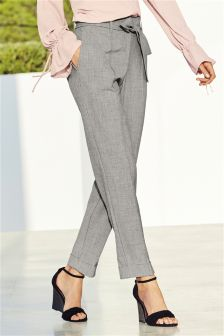 Belted High Waist Taper Trousers