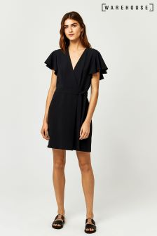 Warehouse Black Frill Sleeve Dress