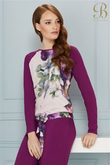 Ted Baker Purple Floral Long Sleeve Pyjama Top