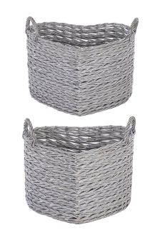 Set of 2 Grey Willoe Heart Baskets