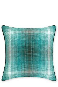 Teal Fulton Woven Large Check Cushion