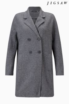 Jigsaw Grey Melange Raw Edge Coat