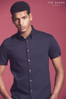 Ted Baker Navy Ital Short Sleeve Shirt