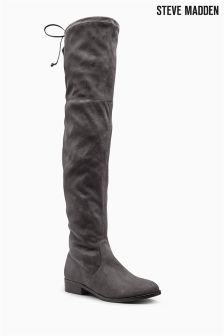 Steve Madden Odina Grey Suede Look Over The Knee Boot