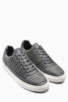 Quilted Lace-Up Trainer