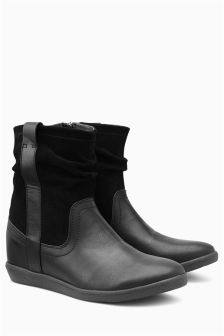 Mix Material Pull-On Boots