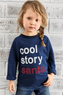 'Cool Story Santa' Christmas Long Sleeve Top (3mths-6yrs)
