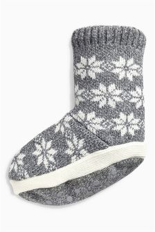 Fairisle Pattern Slipper Socks (Older Boys)