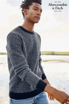 Abercrombie & Fitch Grey/Navy Textured Crew