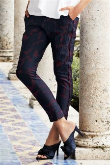 Jacquard Floral Trousers