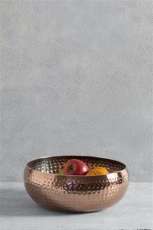 Copper Effect Hammered Fruit Bowl