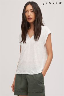Jigsaw White Linen V Neck Roll Sleeve Top