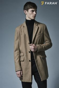 Farah Camel Wool Overcoat