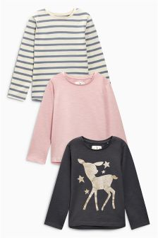 Glitter Print Long Sleeve Tops Three Pack (3mths-6yrs)