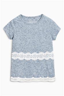 Short Sleeve Lace Hem Top (3-16yrs)