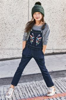 Embroidered Bird Dungarees (3-16yrs)