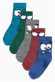 Monster Face Socks Five Pack (Older Boys)