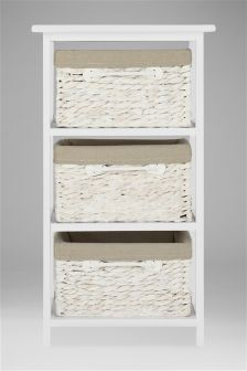 White Wash Water Hyacinth 3 Drawer Unit