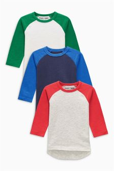 Long Sleeve Raglan Top Three Pack (3mths-6yrs)