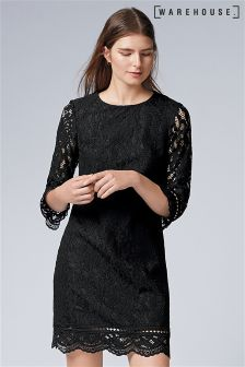Warehouse Black Bonded Lace Dress