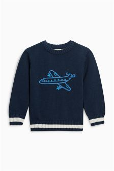 Aeroplane Knitted Jumper (3mths-6yrs)