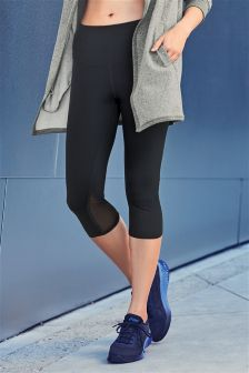 Technical Capri Leggings With Mesh