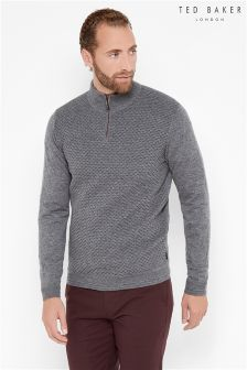 Ted Baker Grey Textured 1/2 Zip Jumper