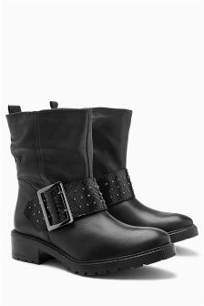 Leather Stud Buckle Heavy Biker Boots