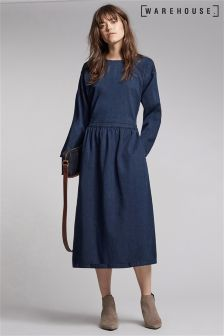 Warehouse Denim Zip Back Midi Dress