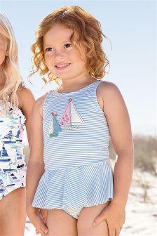 Blue Stripe Appliqué Swimsuit (3mths-6yrs)