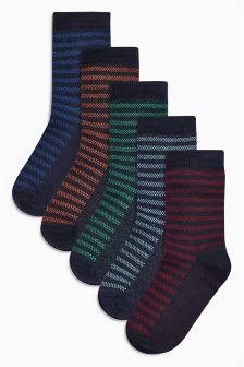Textured Stripe Socks Five Pack (Older Boys)