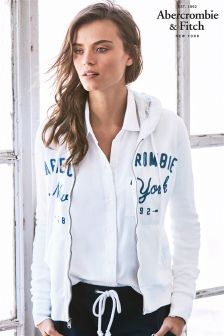Abercrombie & Fitch White Zip Logo Hoody