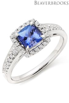 Beaverbrooks 18ct White Gold Tanzanite Diamond Halo Ring